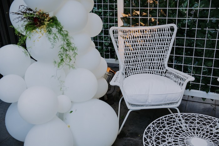 Modern White Chair from a Chic Modern Rooftop Wedding on Kara's Party Ideas | KarasPartyIdeas.com (24)