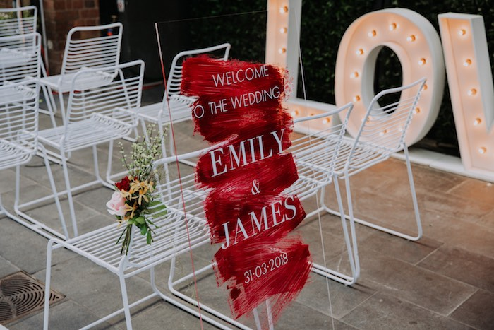 Modern Brushed Welcome Sign from a Chic Modern Rooftop Wedding on Kara's Party Ideas | KarasPartyIdeas.com (20)