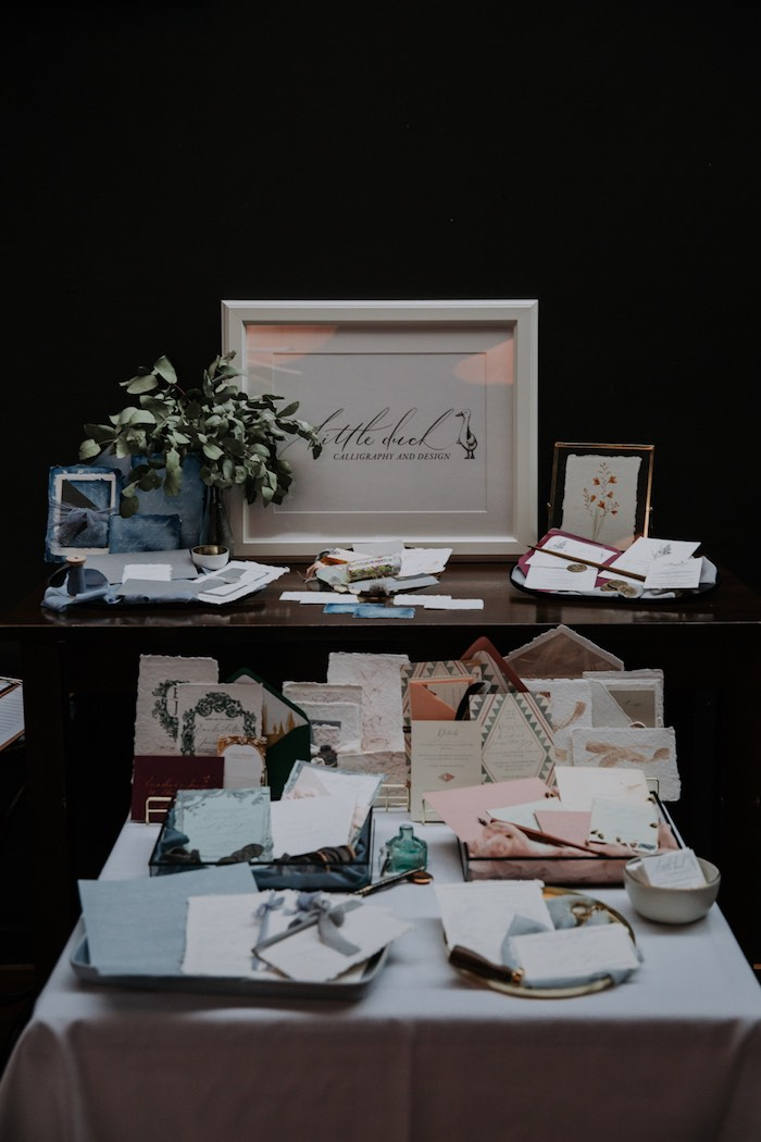 Calligraphy Table from a Chic Modern Rooftop Wedding on Kara's Party Ideas | KarasPartyIdeas.com (16)