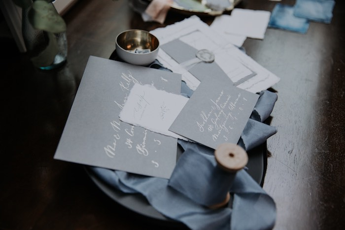 Calligraphy Table Decor from a Chic Modern Rooftop Wedding on Kara's Party Ideas | KarasPartyIdeas.com (15)