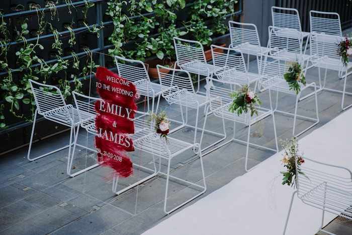 Modern White Guest Chairs from a Chic Modern Rooftop Wedding on Kara's Party Ideas | KarasPartyIdeas.com (14)