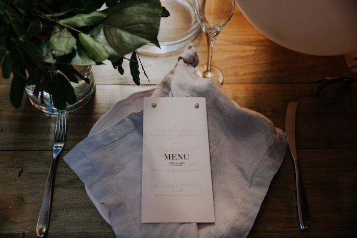 Menu Card + Table Setting from a Chic Modern Rooftop Wedding on Kara's Party Ideas | KarasPartyIdeas.com (8)