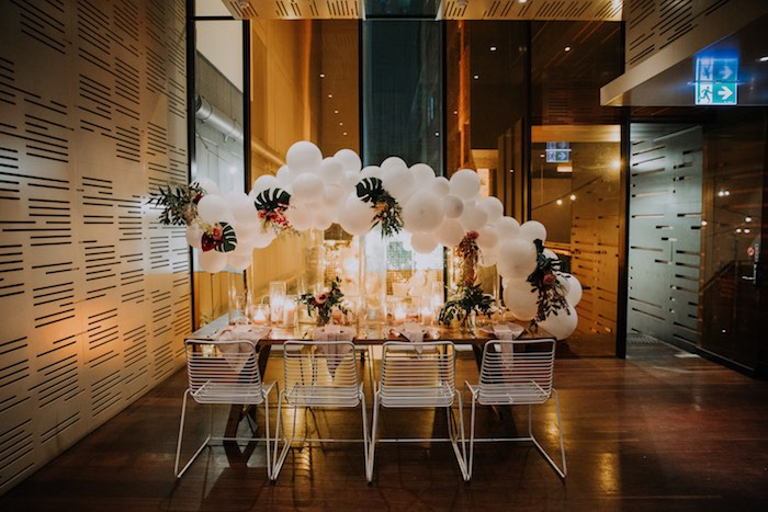 White Balloon Guest Table from a Chic Modern Rooftop Wedding on Kara's Party Ideas | KarasPartyIdeas.com (5)