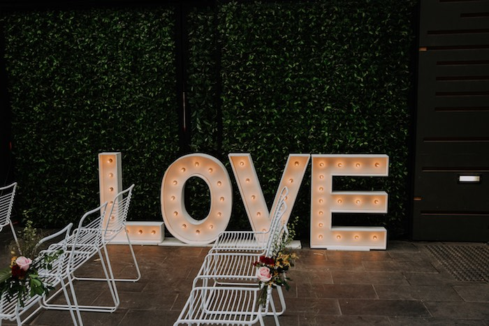 LOVE Letter Marquee Sign from a Chic Modern Rooftop Wedding on Kara's Party Ideas | KarasPartyIdeas.com (29)