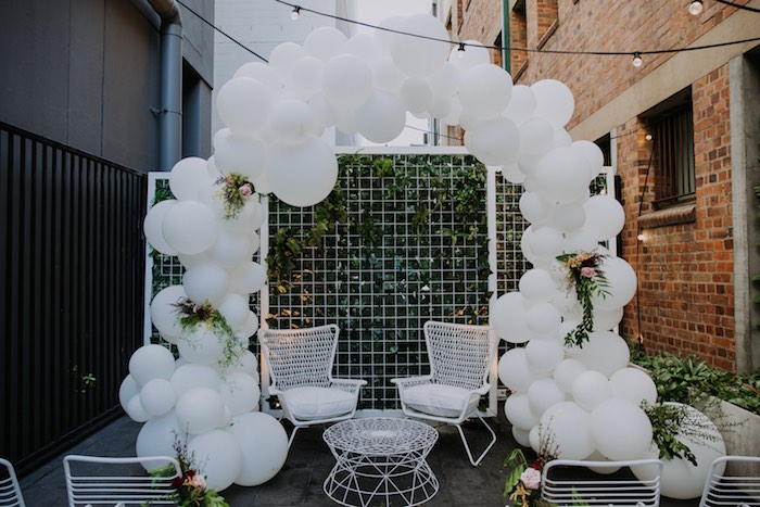 White Balloon Arch from a Chic Modern Rooftop Wedding on Kara's Party Ideas | KarasPartyIdeas.com (28)