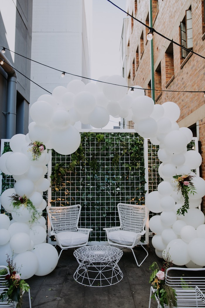 White Balloon Arch from a Chic Modern Rooftop Wedding on Kara's Party Ideas | KarasPartyIdeas.com (27)