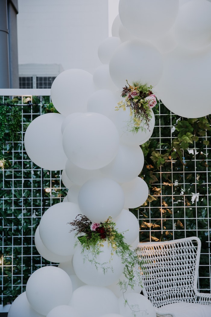 White Balloon Arch from a Chic Modern Rooftop Wedding on Kara's Party Ideas | KarasPartyIdeas.com (25)
