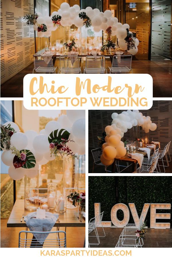 Chic Modern Rooftop Wedding via Kara's Party Ideas - KarasPartyIdeas.com