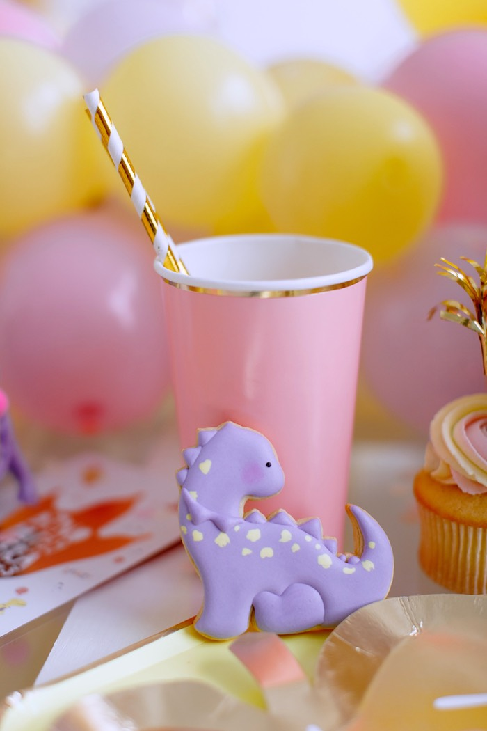 Pastel Dinosaur Cookie from a Chic Pastel Dino Birthday Party on Kara's Party Ideas | KarasPartyIdeas.com (15)