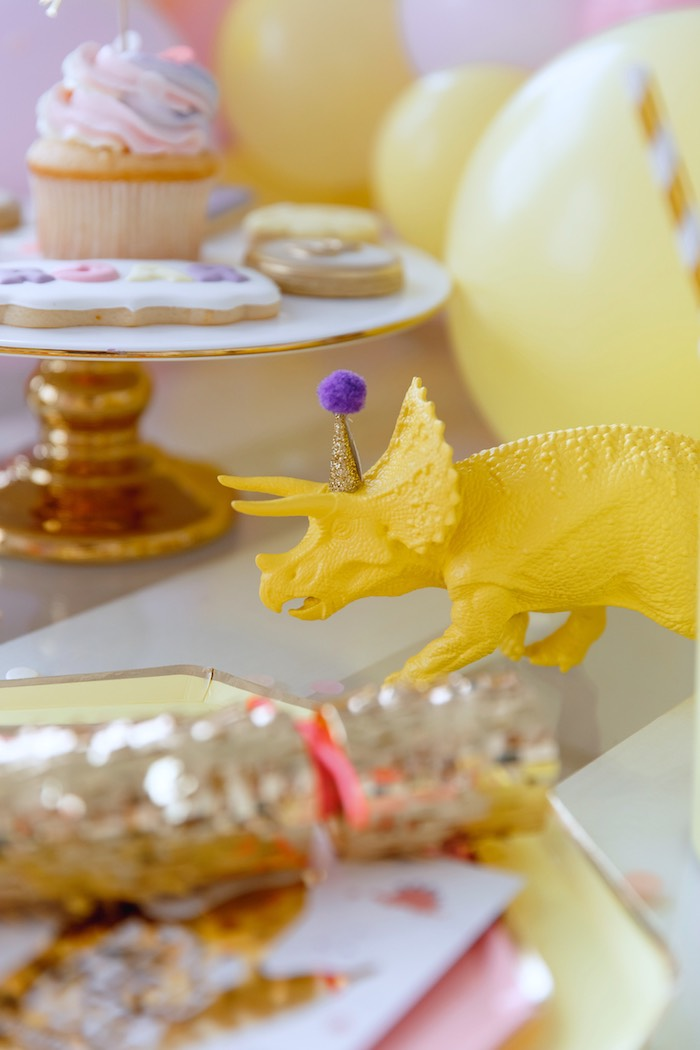 Yellow Dinosaur + Kid Table Decoration from a Chic Pastel Dino Birthday Party on Kara's Party Ideas | KarasPartyIdeas.com (14)