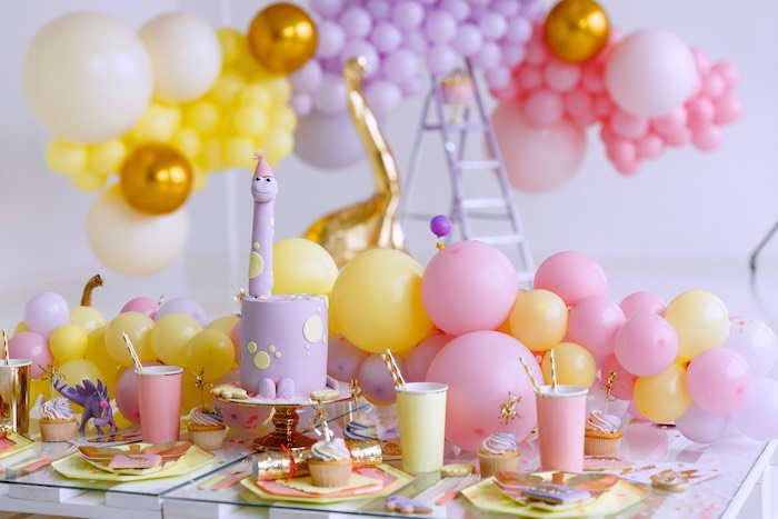 Dinosaur Themed Kid Table from a Chic Pastel Dino Birthday Party on Kara's Party Ideas | KarasPartyIdeas.com (13)