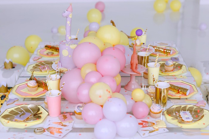 Pastel Glam Dinosaur Party Table from a Chic Pastel Dino Birthday Party on Kara's Party Ideas | KarasPartyIdeas.com (12)