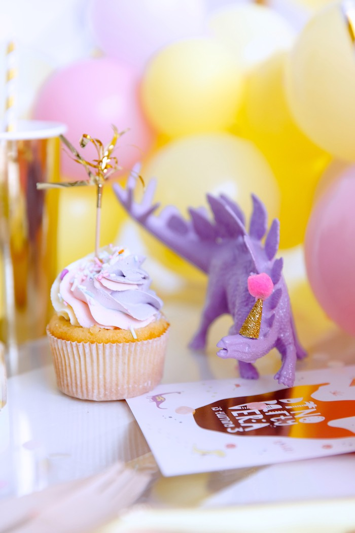 Cupcake and Purple Dinosaur from a Chic Pastel Dino Birthday Party on Kara's Party Ideas | KarasPartyIdeas.com (11)