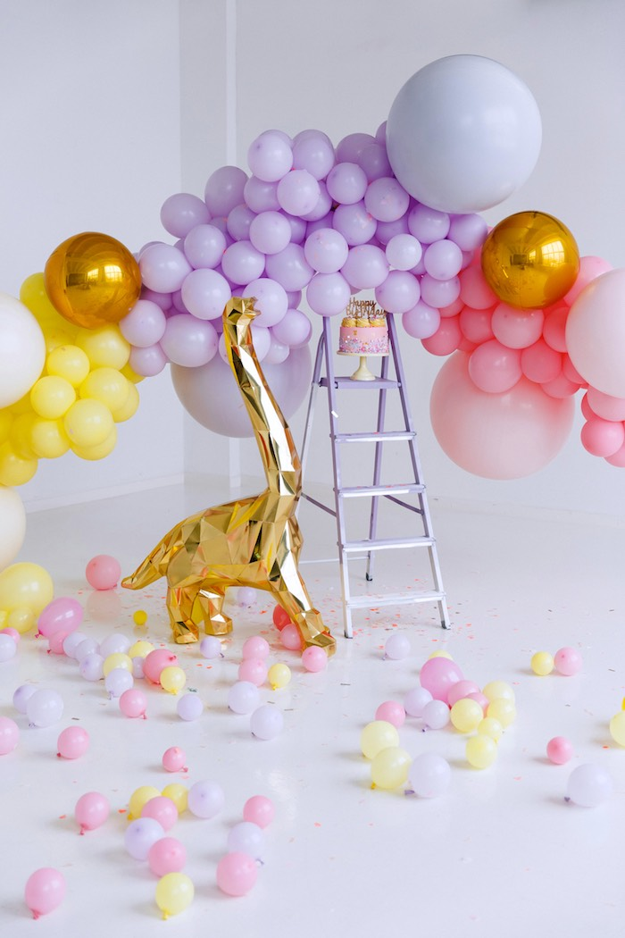 Glam Dinosaur Balloon Backdrop from a Chic Pastel Dino Birthday Party on Kara's Party Ideas | KarasPartyIdeas.com (8)