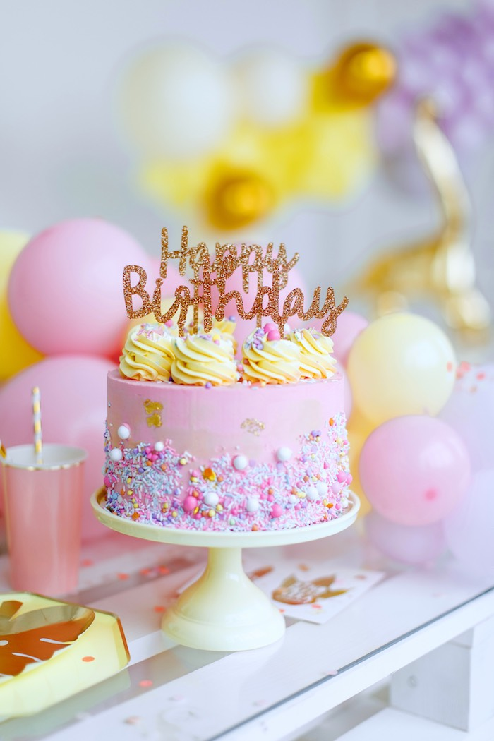 Pink + Yellow Glam Birthday Cake from a Chic Pastel Dino Birthday Party on Kara's Party Ideas | KarasPartyIdeas.com (26)