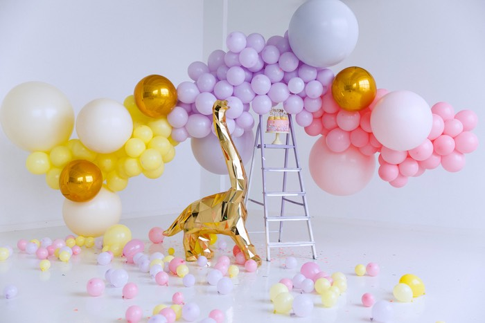 Glam Dinosaur Balloon Installation + Backdrop from a Chic Pastel Dino Birthday Party on Kara's Party Ideas | KarasPartyIdeas.com (7)