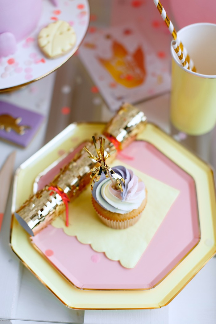 Glam Pink + Yellow Table Setting from a Chic Pastel Dino Birthday Party on Kara's Party Ideas | KarasPartyIdeas.com (25)
