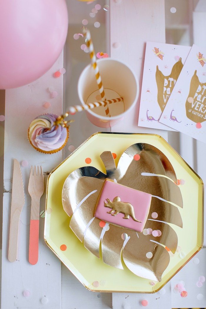 Gold Leaf-plated Glam Dino Table Setting from a Chic Pastel Dino Birthday Party on Kara's Party Ideas | KarasPartyIdeas.com (24)
