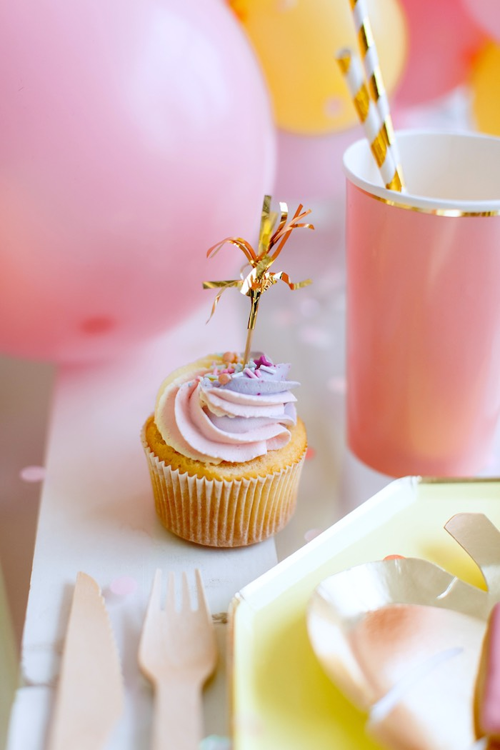 Swirl Cupcake with Gold Tassel Topper from a Chic Pastel Dino Birthday Party on Kara's Party Ideas | KarasPartyIdeas.com (23)