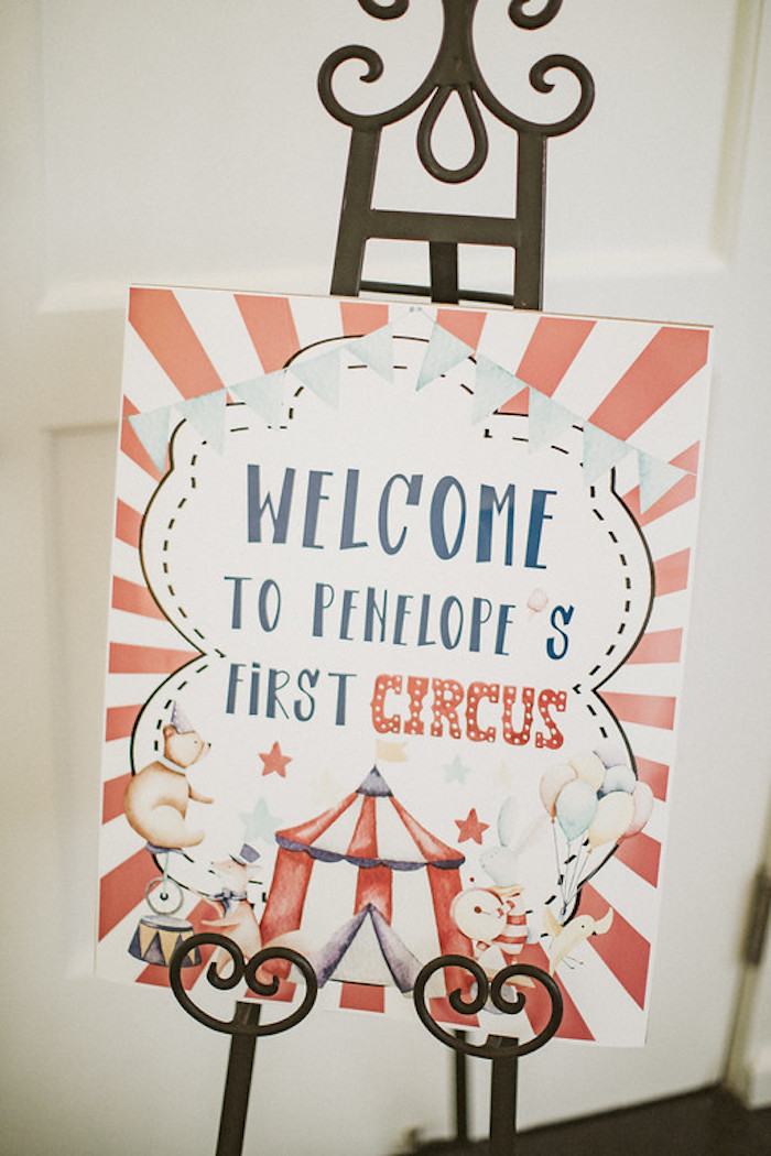 Circus Themed Welcome Sign from a Classic Circus Party on Kara's Party Ideas | KarasPartyIdeas.com (33)