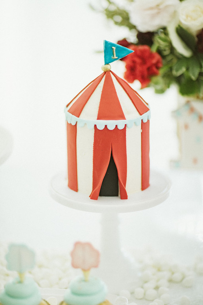 Circus Tent Cake from a Classic Circus Party on Kara's Party Ideas | KarasPartyIdeas.com (32)