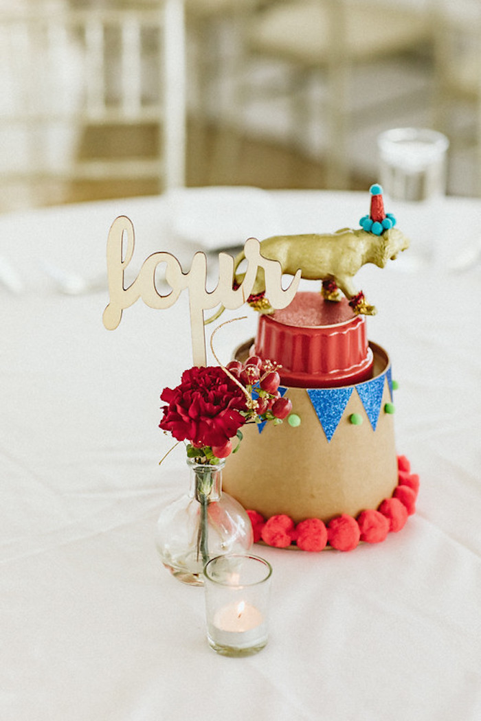 Circus Themed Guest Table + Centerpiece from a Classic Circus Party on Kara's Party Ideas | KarasPartyIdeas.com (22)