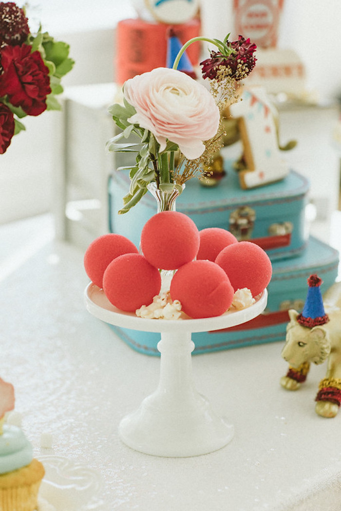 Clown Noses & Blooms from a Classic Circus Party on Kara's Party Ideas | KarasPartyIdeas.com (20)