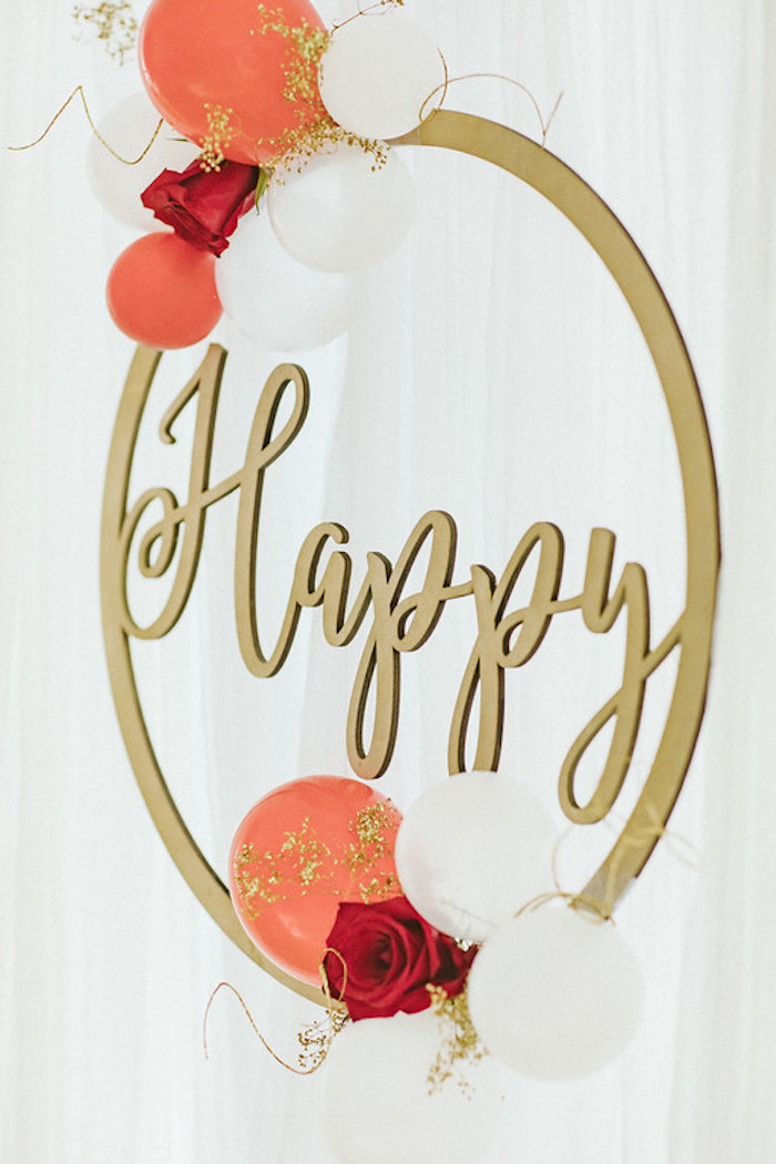 Floral 'Happy' Ring Decor Piece from a Classic Circus Party on Kara's Party Ideas | KarasPartyIdeas.com (13)