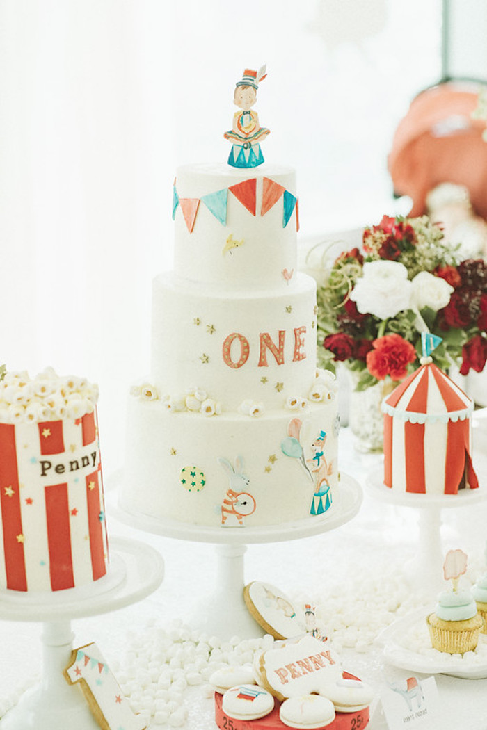 Classic Themed Circus Cake from a Classic Circus Party on Kara's Party Ideas | KarasPartyIdeas.com (44)