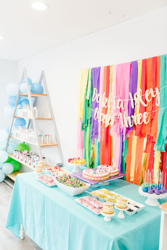 Rainbow Dessert Table from a Color Factory Rainbow on Kara's Party Ideas | KarasPartyIdeas.com (20)