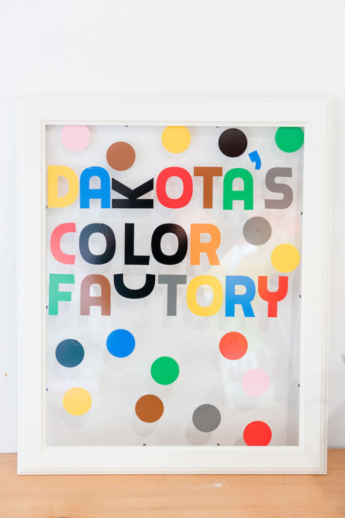 Rainbow Polka Dot Glass Frame Sign from a Color Factory Rainbow on Kara's Party Ideas | KarasPartyIdeas.com (16)
