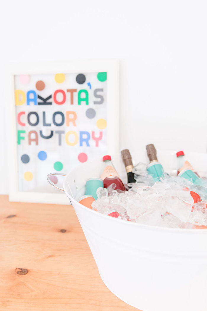 Beverage Table from a Color Factory Rainbow on Kara's Party Ideas | KarasPartyIdeas.com (15)