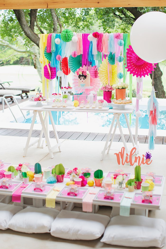 Fiesta Party Tables from a Colorful Frida Kahlo Fiesta on Kara's Party Ideas | KarasPartyIdeas.com (6)