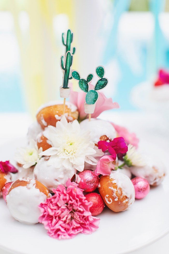 Gorgeous Doughnut & Bloom Dessert Tower from a Colorful Frida Kahlo Fiesta on Kara's Party Ideas | KarasPartyIdeas.com (5)