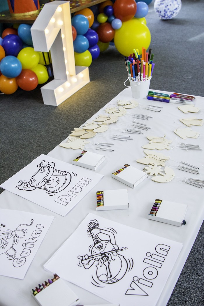 Coloring + Activity Table from a Colorful Music Birthday Party on Kara's Party Ideas | KarasPartyIdeas.com (11)