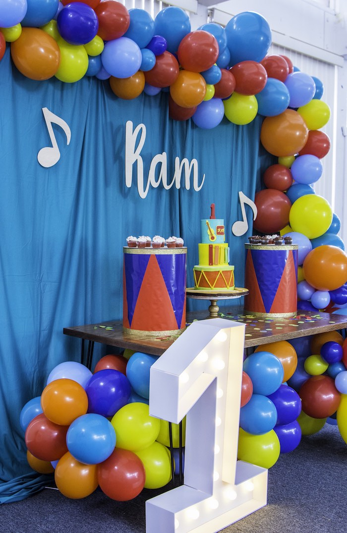 Music Themed Dessert Table from a Colorful Music Birthday Party on Kara's Party Ideas | KarasPartyIdeas.com (10)