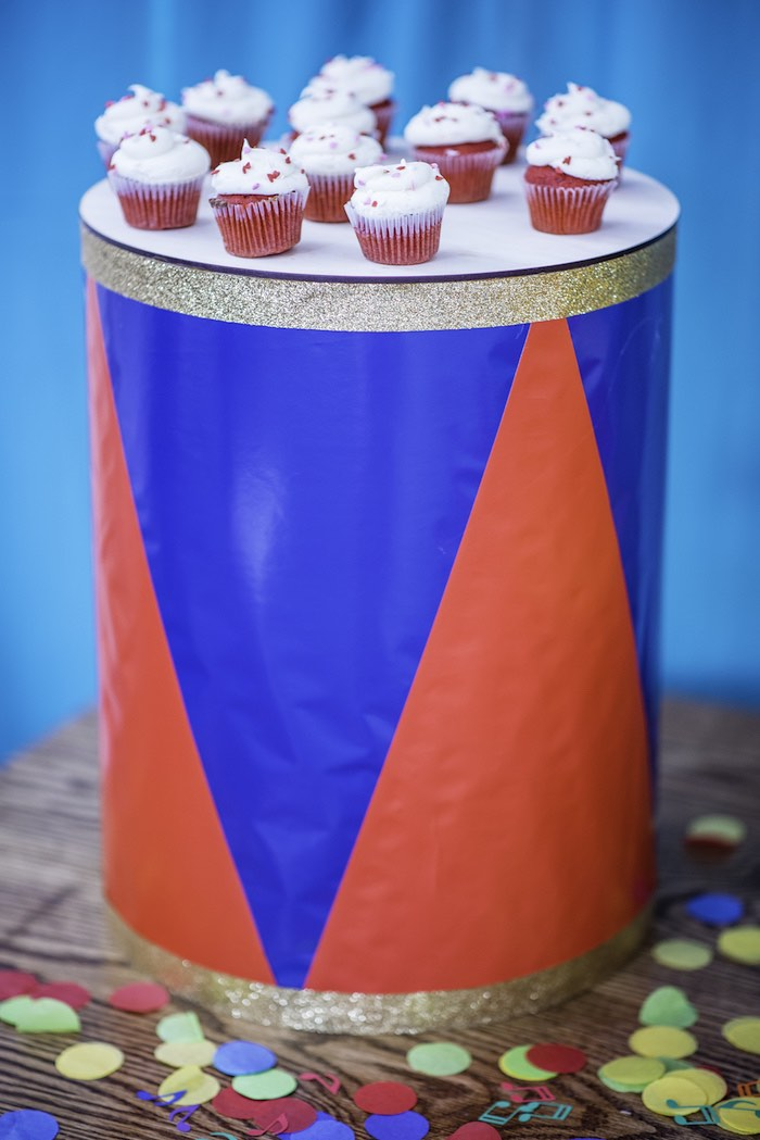 Drum Table from a Colorful Music Birthday Party on Kara's Party Ideas | KarasPartyIdeas.com (7)