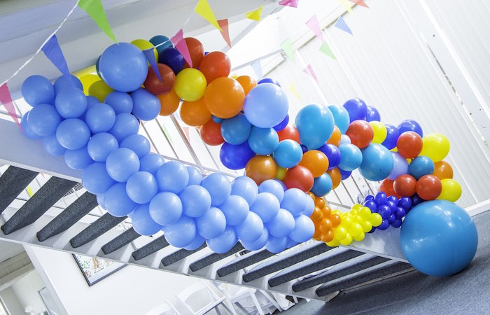 Music Note Balloon Installation from a Colorful Music Birthday Party on Kara's Party Ideas | KarasPartyIdeas.com (5)
