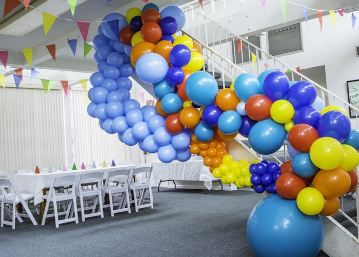 Music Note Balloon Installation from a Colorful Music Birthday Party on Kara's Party Ideas | KarasPartyIdeas.com (4)