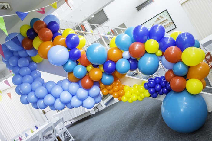 Music Note Balloon Installation from a Colorful Music Birthday Party on Kara's Party Ideas | KarasPartyIdeas.com (3)