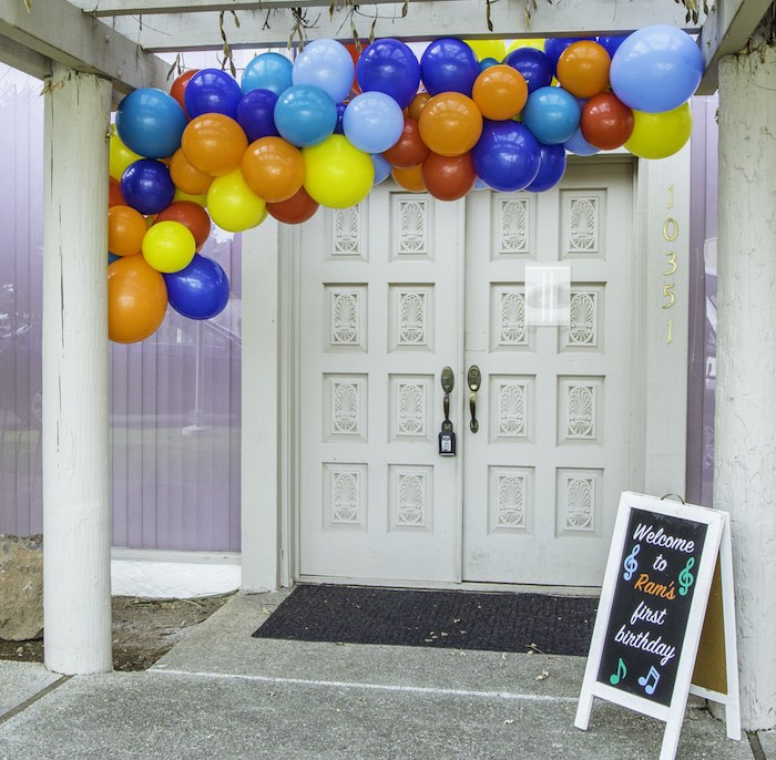 Colorful Party Entrance from a Colorful Music Birthday Party on Kara's Party Ideas | KarasPartyIdeas.com (19)