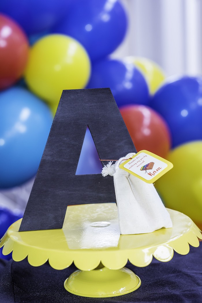 Letter on a Pedestal from a Colorful Music Birthday Party on Kara's Party Ideas | KarasPartyIdeas.com (15)