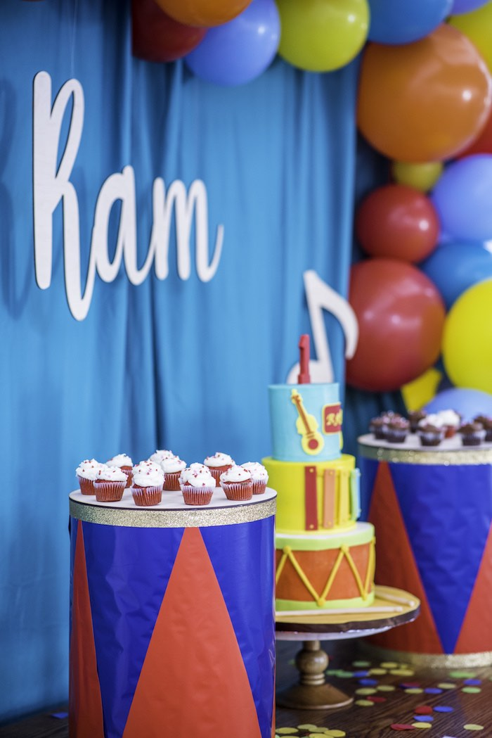 Drum Table from a Colorful Music Birthday Party on Kara's Party Ideas | KarasPartyIdeas.com (13)