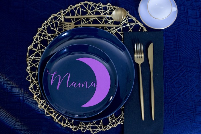 Crescent Moon Table Setting from a Cosmic Celestial Galaxy Birthday Party on Kara's Party Ideas | KarasPartyIdeas.com (17)