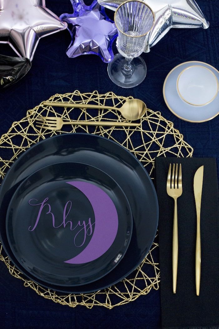 Crescent Moon Table Setting from a Cosmic Celestial Galaxy Birthday Party on Kara's Party Ideas | KarasPartyIdeas.com (16)