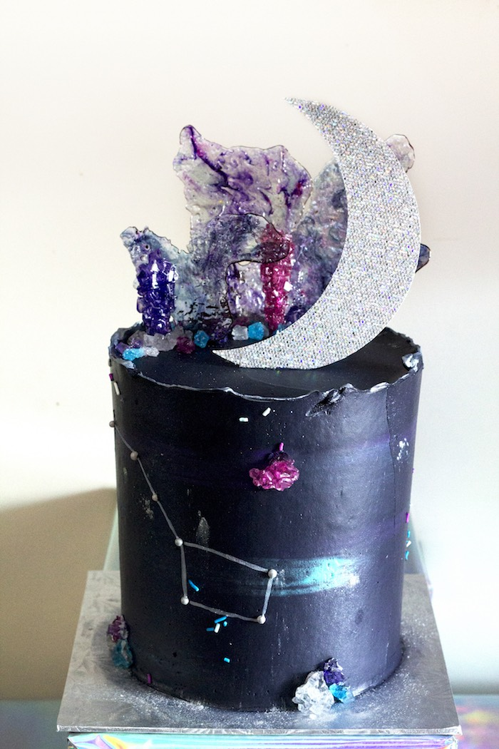 Space Themed + Galaxy Cake from a Cosmic Celestial Galaxy Birthday Party on Kara's Party Ideas | KarasPartyIdeas.com (14)