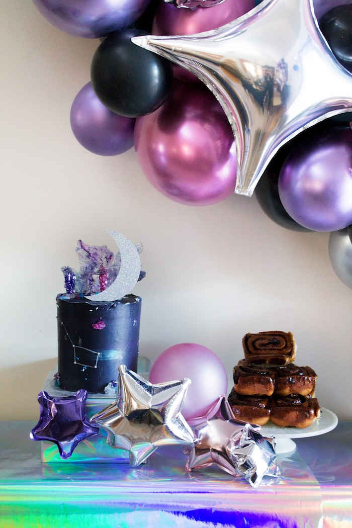 Galaxy Themed Cake + Sweet Table from a Cosmic Celestial Galaxy Birthday Party on Kara's Party Ideas | KarasPartyIdeas.com (13)