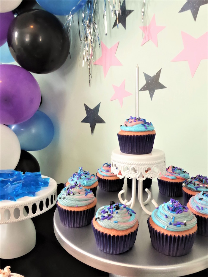 Space-inspired Cupcakes from a Twinkling Star Galaxy Party on Kara's Party Ideas | KarasPartyIdeas.com