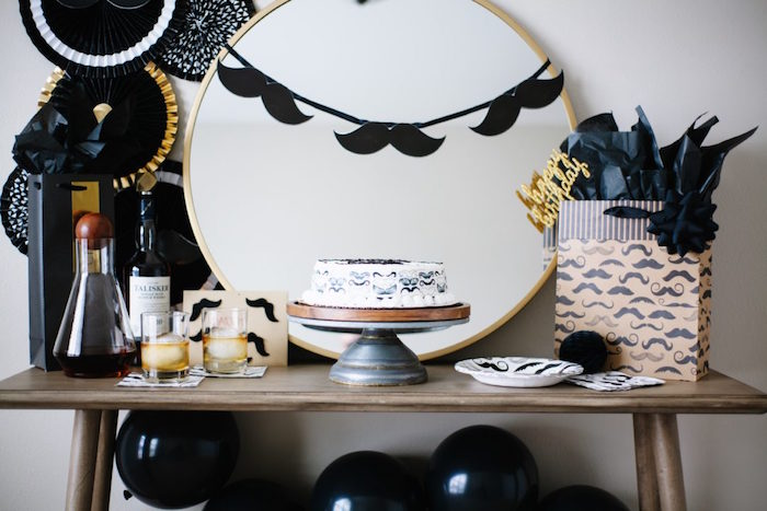 Mustache Themed Cake Table from a Debonair Mustache Party on Kara's Party Ideas | KarasPartyIdeas.com (8)