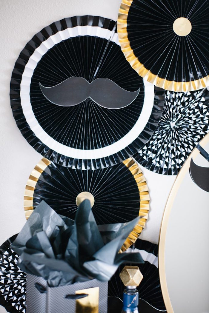 Black + White + Gold Paper Fans from a Debonair Mustache Party on Kara's Party Ideas | KarasPartyIdeas.com (19)